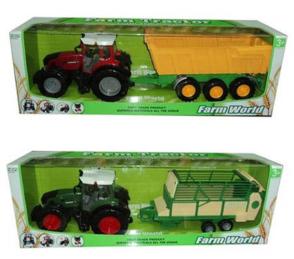 Трактор инерц. 8033-3/4 (6шт) з причепом,2 види в коробці 80см