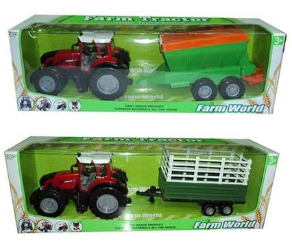 Трактор инерц. 8033-5/7 (6шт) з причепом,2 види в коробці 80см