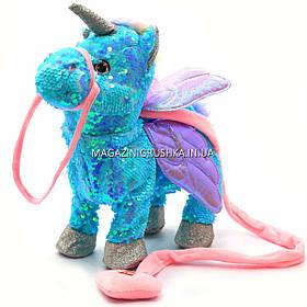 Интерактивная мягкая игрушка «Пони» единорог на поводке (голубой), ходит, поет, ржет 30*10*35 см (M1244)