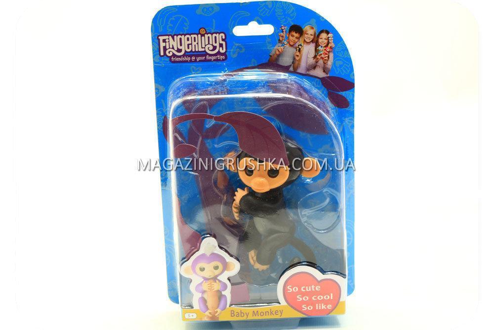 Интерактивная ручная игрушка обезьянка Fingerlings Monkey Черная (аналог) арт.40514