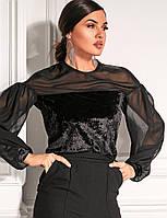 Комбинированный черный джемпер. Женская модная одежда. Одежда на каждый день