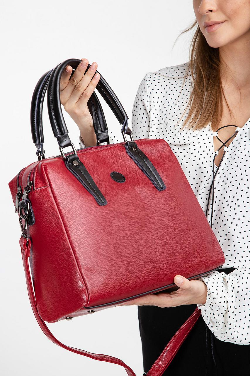 Красная сумка саквояж с черными ручками Бесплатная доставка Justin