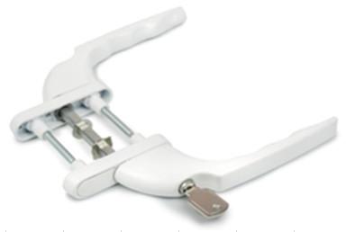 Ручка двухсторонняя для балконной металлопластиковой двери узкая с ключом