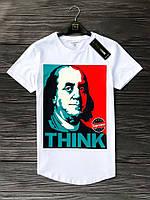 Мужская Белая Футболка Benjamin Franklin Фирменная Летние Футболки Мужские Белые Франклин