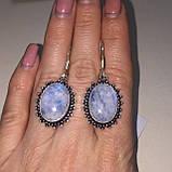 Лунный камень адуляр. Красивые овальные серьги с лунным камнем в серебре. Натуральный лунный камень. Индия, фото 2