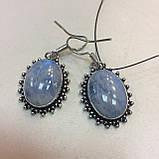 Лунный камень адуляр. Красивые овальные серьги с лунным камнем в серебре. Натуральный лунный камень. Индия, фото 6