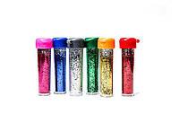 БЛЕСТКИ-присыпка в банке Pasco GL-001 (6.5 грамм) 6 цветов/48 штук Мелкий глитер-песок/48уп, 1152ящ