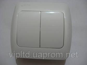 Выключатель ABB EL-Bi ZIRVE Fixline двойной для внутреннего (скрытого) монтажа, белый, Турция