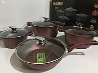 Набор посуды из 8 предметов Benson Elite  BN 334 Red