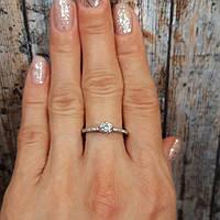Кольцо для предложения с камнем, серебряное