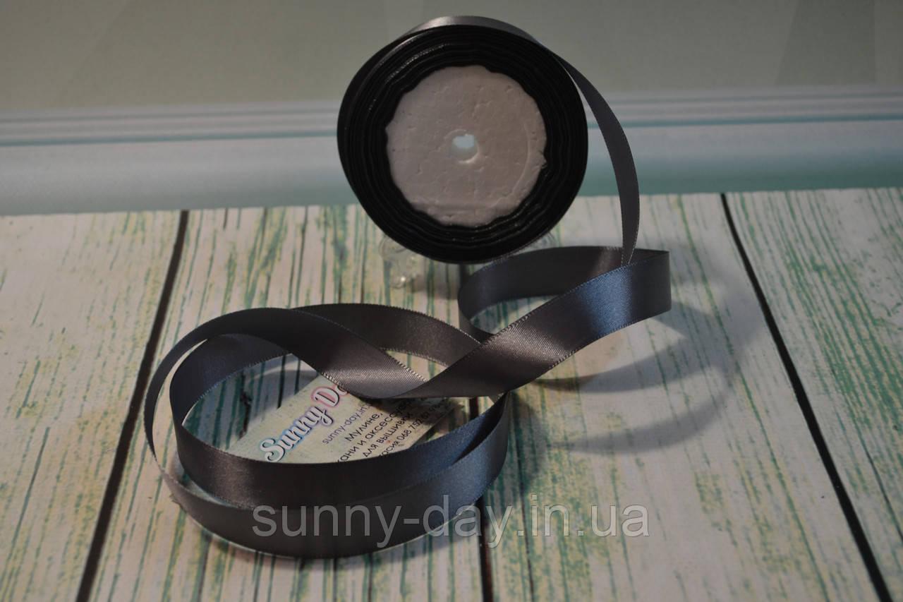 Лента атласная, 20мм (22метра), цвет - темно серый