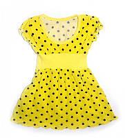 Детское платье в горошек легкое тонкое в садик желтое на 3-4 года