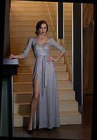 Платье женское трикотажное длинное люрекс Viyas de luxe