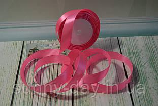 Стрічка атласна, 20мм (22метра), колір - рожевий неон