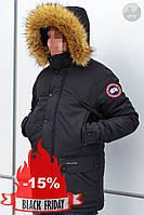 Мужская Зимняя Черная Куртка Canada Goose Парка Качественная Куртки Мужские Фирменные