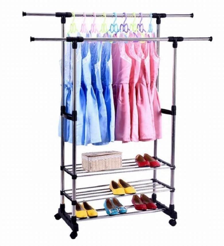 Напольная вешалка для одежды - двойная стойка с подставками для обуви Colgador Doble Ajustable