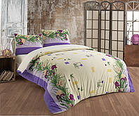 Махровое постельное бельё    Фиолетовые Ирисы   Двуспальное евро