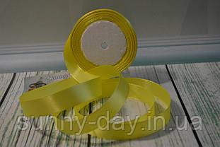 Стрічка атласна, 20мм (22метра), колір - світло жовтий