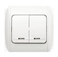 Выключатель ABB EL-Bi ZIRVE Fixline двойной с подсветкой для внутреннего (скрытого) монтажа, белый, Турция