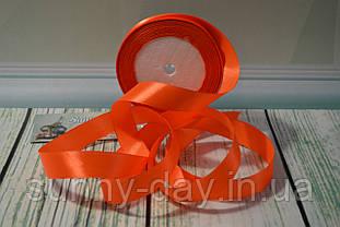 Стрічка атласна, 20мм (22метра), колір - помаранчевий неон