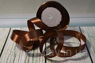 Стрічка атласна, 20мм (22метра), колір - темно коричневий