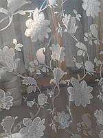Тюль  органза печатка  AL-105 белая, фото 1