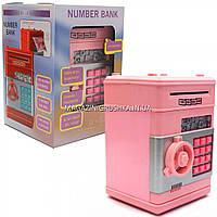 Копилка сейф с кодом, затягивает купюры, музыкальный, розовый 13*13*18 см (1511), фото 1