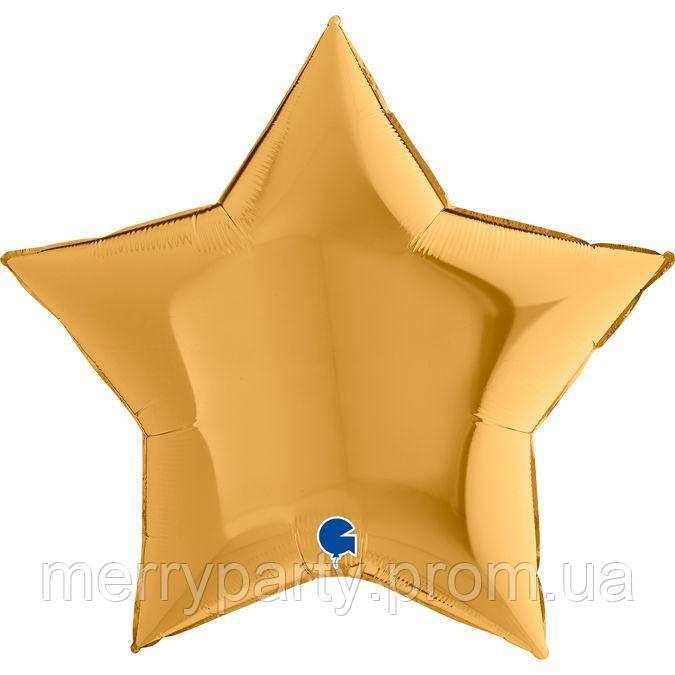 """36"""" (90 см) Звезда золото Grabo Италия шар фольгированный"""