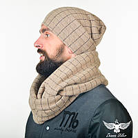 Зимний набор в клетку: шарф-снуд + шапка. unisex, фото 1