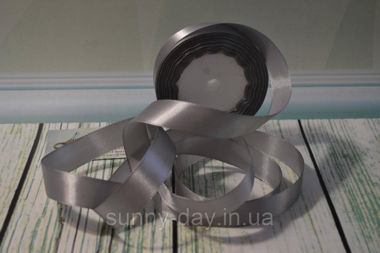 Лента атласная, 20мм (22метра), цвет - серый