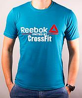 Размеры: 44/46/48/50. Мужская спортивная футболка Reebok (Рибок) / 100 % хлопок / бирюзовая