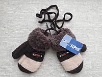 Теплые детские варежки на меху для мальчиков и девочек на 1-3 года