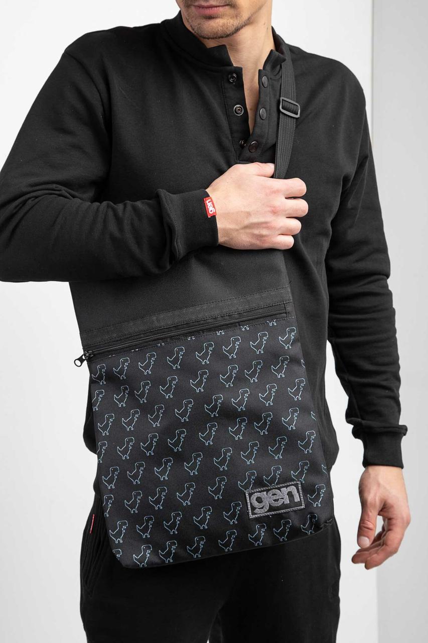 Принтованная сумка через плечо мессенджер с ручками и длинным ремешком