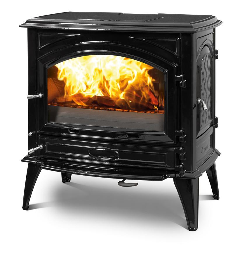 Печь камин чугунная DOVRE 760 GK на углях глянцевая черная