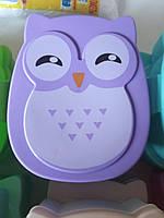 Ланчбокс, ланч бокс сова, совушка контейнер для еды для обедов, детский ланчбокс в школу фиолетовый, сиреневый