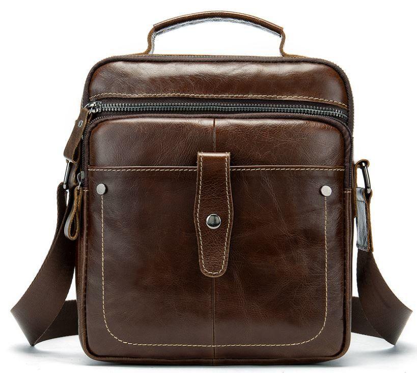Сумка через плечо мужская гладкая Vintage 14700 Коричневая