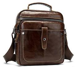 Сумка через плечо мужская гладкая Vintage 14700 Коричневая, фото 3