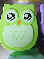 Ланчбокс сова, контейнер для еды, для обедов, перекусы, в школу салатовый, зеленый, фото 1