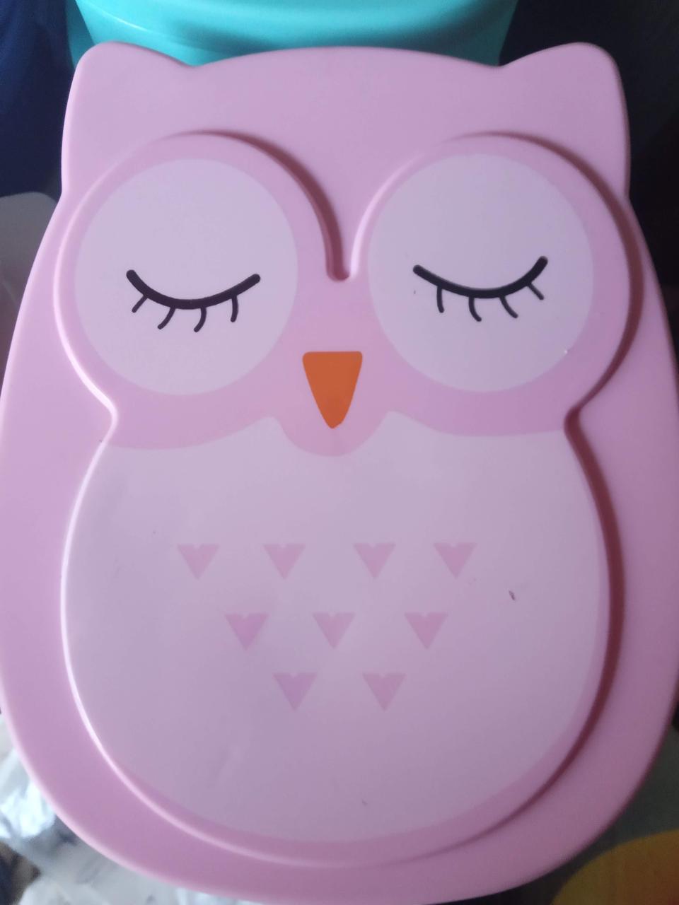 Ланчбокс сова, контейнер для еды, для обедов, перекусы, в школу розовый
