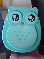 Ланчбокс, ланч бокс сова, совушка, контейнер для еды, для обедов, детский ланчбокс в школу бирюзовый, голубой
