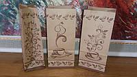Пакеты бумажные 85х65х190 с плоским дном и логотипом чай/кофе (эко-крафт 70гр./м2)