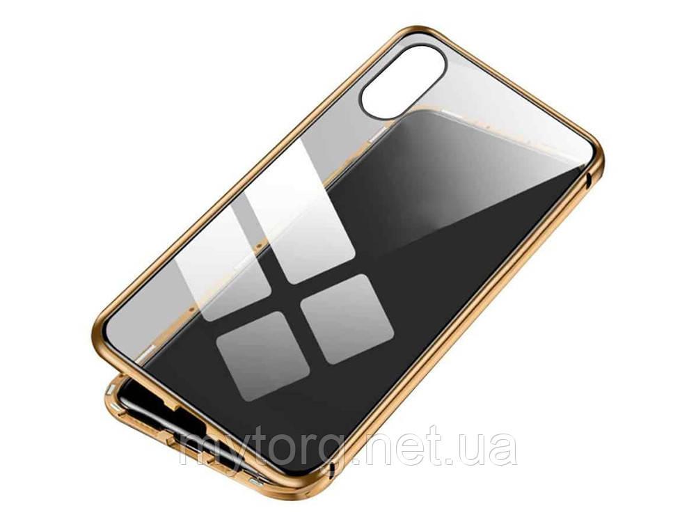 Магнитный чехол для iPhone XS из закаленного стекла iPhone XS Золотой