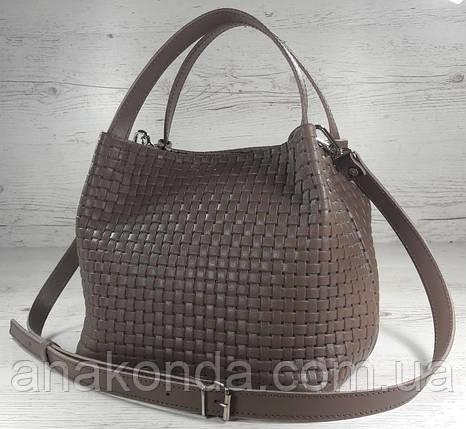 523 Натуральная кожа, Сумка женская кофейная с тиснением 3D кожаная бежевая женская сумка мягкая коричневая, фото 2