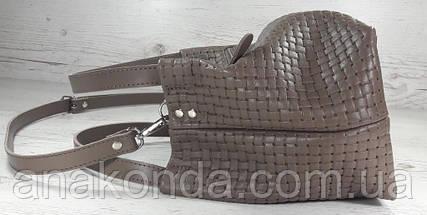 523 Натуральная кожа, Сумка женская кофейная с тиснением 3D кожаная бежевая женская сумка мягкая коричневая, фото 3