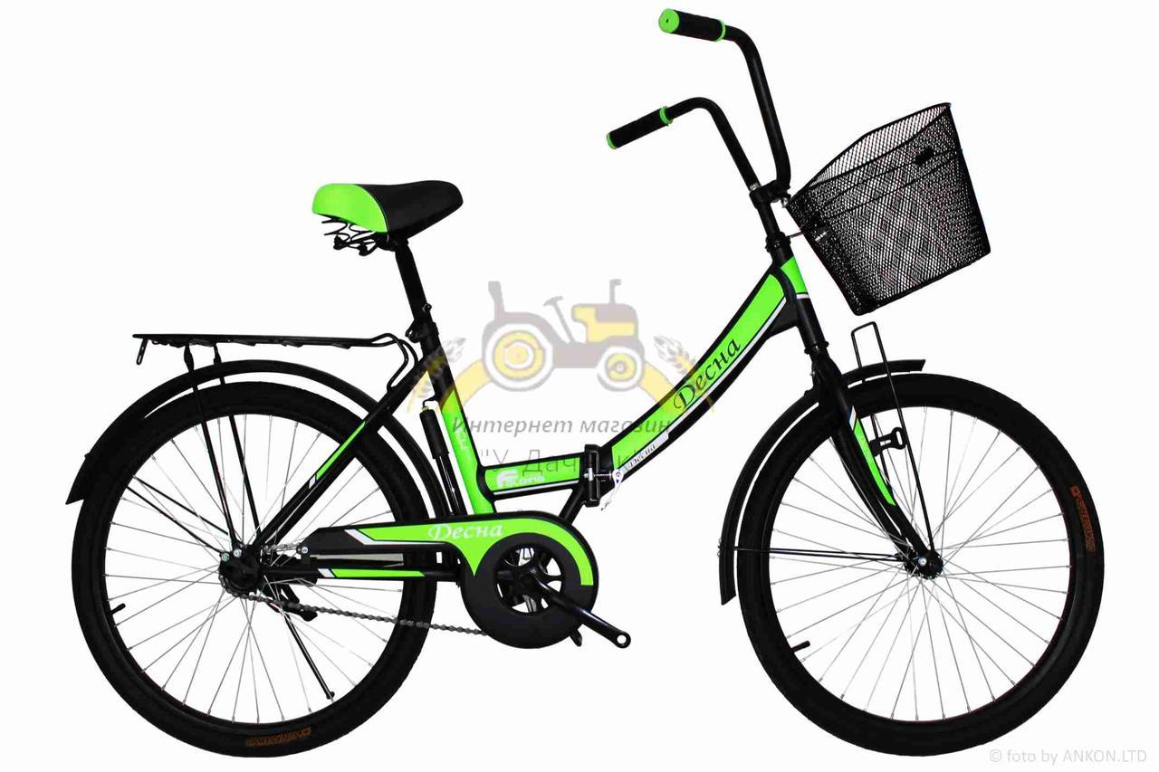 """Велосипед складной  24""""  """"Десна""""  рама стальная 16"""", black-green + Подарок"""