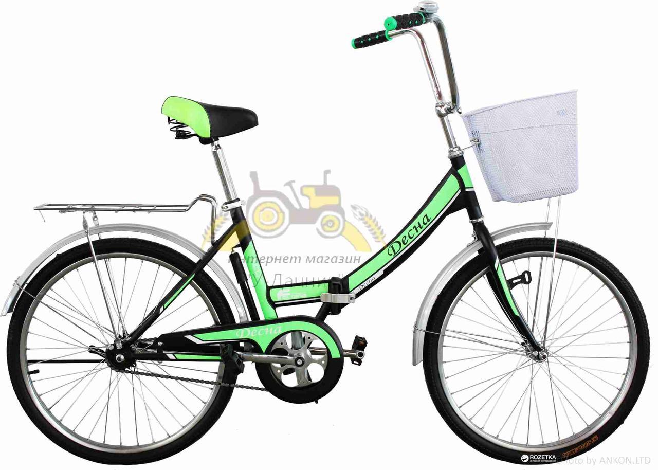 """Велосипед складной  24""""  """"Десна""""  рама стальная 16"""", green-black + Подарок"""