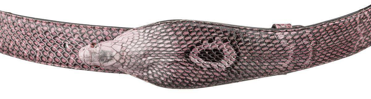 Ремень SNAKE LEATHER 18592 из натуральной кожи кобры Розовый, фото 2