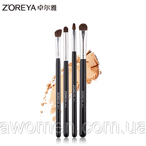 Набор кистей Zoreya 4 штук Makeup Brush (черные)