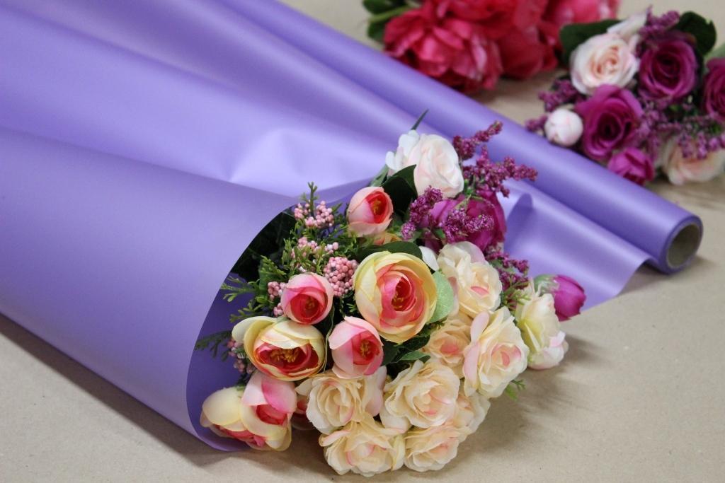 Калька для цветов - матовая флористическая пленка 70см*10м Лаванда