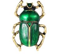 Брошь брошка значок металлический насекомое жук скарабей зеленый